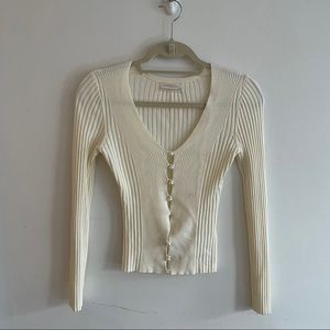 pearl button cardigan top